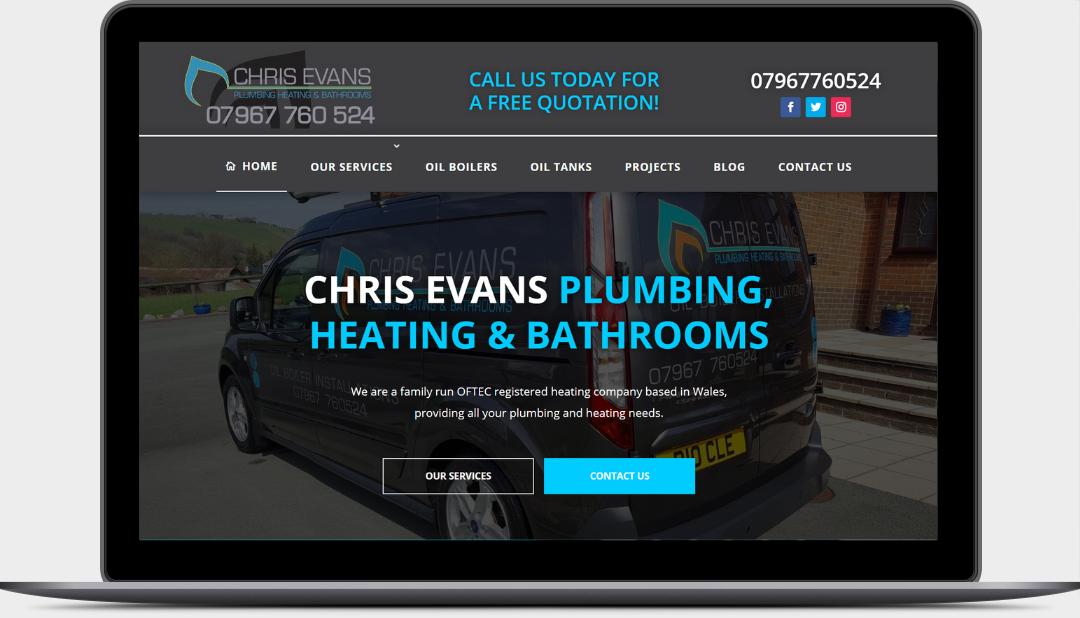 Chris Evans Plumbing & Heating Website Homepage by Digidol