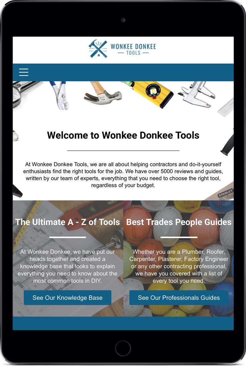 Wonkee Donkee Tools Tablet Website Design