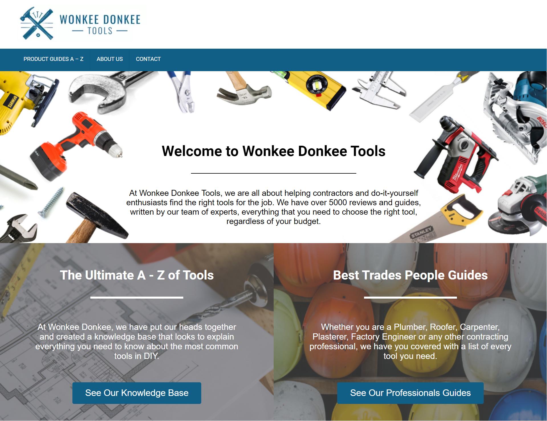 Wonkee Donkee Tools Website Design in Mid Wales